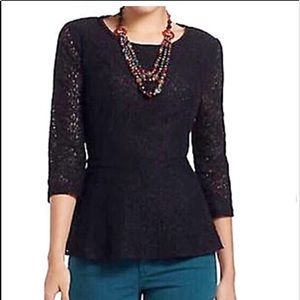 Anthro Moulinette Soeurs Lace Peplum Easy Top